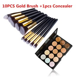Wholesale Pro Make UP Tool Gold Cosmetic Makeup Brush Set Foundation Animal Hair And Fiber Brushes Colors Concealer Palette