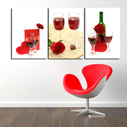 Life Sentiments Red Wine Tableware 3 Picture Combination Art Painting Wall Oil Painting Printed On Canvas Painting Home Decoration