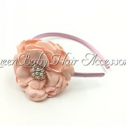 New Style Hot Selling Headband Girl Satin Layered Poppy Flower Plastic Stick For kids Infant 3pcs lot