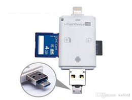 Wholesale 3 in iFlash Drive USB Micro SD SDHC TF Card Reader Writer for iPhone5 s plus ipad itouch Android phones