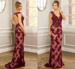 Red Appliqued Lace Mermaid Evening Dresses Gowns Sheer Neck Sexy Backless Runway Capped Sleeveless Scoop Formal Party Celebrity Dresses