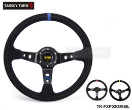 Wholesale Tansky mm Universal Car Auto Racing Steering Wheel Leather Aluminum Frame quot Black Yellow Red Suede leather TK FXP02OM