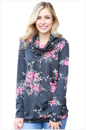 Women's Casual Floral Print Long Sleeve Striped Cowl Neck Pullover Sweatshirts Tops Blouse with hat