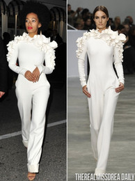 New Arrival Celebrity Dresses 2015 White Leg Jumpsuit Long Sleeves High Neck with Flowers Formal Party Evening Dresses Custom Made