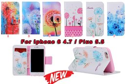 Wholesale For Iphone S Plus Dandelion Wallet Leather Beautiful Pretty Flower Case Fashion Credit Card Stand Purse Soft TPU Pouch Flip