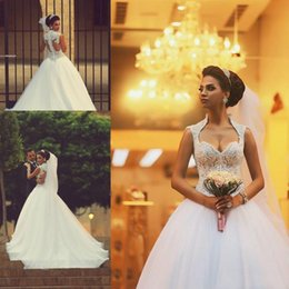 Wholesale Arabic African Wedding Dresses Sweetheart Capped Sleeve Button Back Court Train Victorian Ball Gowns Wedding Dresses China Supplier LA