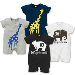 Bébé girafe barboteuse à vendre-Baby Barboteuses Elephant Girafe été Cartoon Romper manches courtes bébé garçon Vêtements Marine Eté Gris Blanc Noir