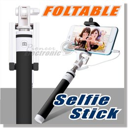 Wholesale Selfie Stick New Pocket Wired Extendable Wired Selfie Stick Handheld Monopod with Non slip Soft Strap Charge free No Need Bluetooth