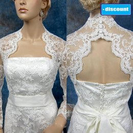 Wholesale 2014 Best Seller Portrait Lace Bridal Jackets Real Image Long Sleeves Cheap Sheer Bridal Wraps Keyhole Back Custom Made Bridal Jacket
