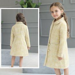 2017 children's wear new comfortable cute girl winter long sleeve coats O-neck fashion solid yellow outwear