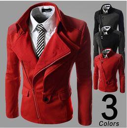 2014 new arrive fashion slim men's suits jacket Casual men's coat mens clothing Oblique zipper Splice men's jacket red 2301