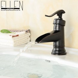 Wholesale Bathroom black faucet copper oil rubbed bronze waterfall faucets single handle single hole sink tap mixer