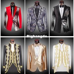 1225 (chaquetas + pantalones + pajarita) 2015 hombres de la marca de moda trajes Blazers delgado personalizado adorno de esmoquin novios cequis baile de color rojo boda hombre cantante desde rojo corbatas de lentejuelas hombres fabricantes