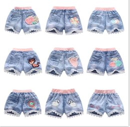 Wholesale Kids Girls ruffle Shorts Jeans pants newest hot summer cute printed Lace Pocket Demin Short Pants Trousers for children girl Age T