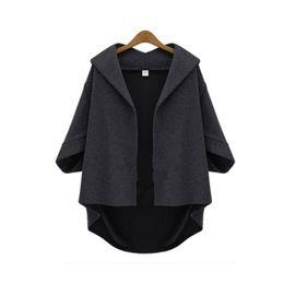 Wholesale-Brand New Women Autumn Winter Jackets V-Neck Asymmetric Length Jackets for Women Batwing Sleeve Women Cardigans Open Stitch