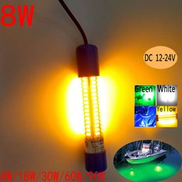12V Underwater Night Boat Lights Dock LED Fishing Lights Low Price YELLOW Color 8W 6M Cable IP68