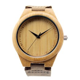 Wholesale 2015 Classic Bamboo Wooden Watch japanese miyota movement wristwatches genuine leather bamboo wood watches for men women gift box