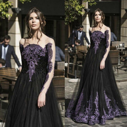 Gorgeous Black And Purple Lace Appliqued Prom Dresses 2016 Sheer Neck Illusion Long Sleeves Tulle Evening Gowns Floor Length Formal Wear
