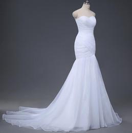 Real Sample Sexy Mermaid Wedding Dresses Under 100 2016 Wedding Gowns Cheap Designer White Ivory Pleats Organza Bridal Dress Discount