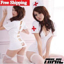 Wholesale New Arrival White Sexy Costumes New Melting Fantasia Nurse Costume Uniform Plus Size Hot Sexy Lingerie Women Open Crotch Exotic Apparel