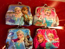 Girls 3D Cartoon Frozen Coin Purse with iron button Anna Elsa Olaf shell bag wallet Purses children child Gifts For Holidays Christmas 100pc