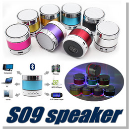 Wholesale S09 Bluetooth Speaker Out door Speakers with LED of light Micro TF Card Call Function DHL No Logo with Retail Box