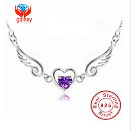 Anges ailes à vendre-HOT vente en gros magnifiques ailes d'ange en argent 925 collier collier pendentif Violet suisse CZ coeur pour les femmes ZHH65
