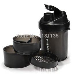 Wholesale 3 Compartents Nutrition Shake Gym Shaker blender Bottle Protein Mixer Cup Blender BPA free ml