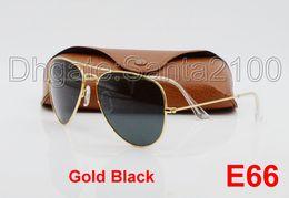 10pcs Designer Classic Sunglasses Mens Womens Sun Glasses Gold Frame Black 58mm Glass Lenses Large Metal Brown Case Excellent Quality
