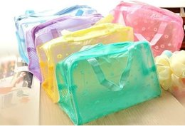 Wholesale 1200pcs Hot Makeup Bags Cosmetic Bags Transparent Waterproof PVC Bag Floral Print For Toilet Bathing Pouch Travel