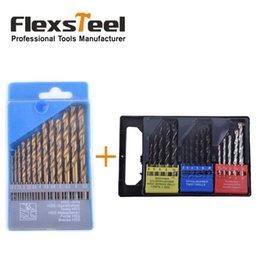 Forets en métal à vendre-Flexsteel 16PCS Twist bois maçonnerie combinaison de métal foret Brocas kit + 13PCS HSS Titanium twist foret bits mis en métal