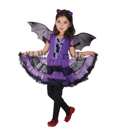 Wholesale 3PCS Set Halloween Girls Princess Costume Tutu Dress Bat Wings Bat Hairband Kids Performance Cosplay Clothes Girls Costume