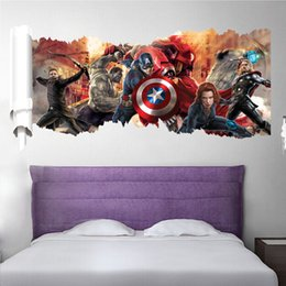 Wholesale Marvel s The Avengers Wall Stickers For Boys Room Removable Pvc Captain America Iron Man Cartoon Movie Wall Stickers DHL Free
