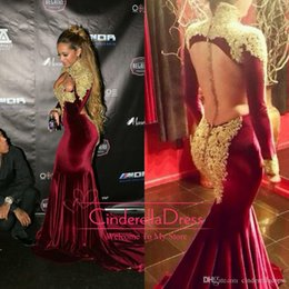 Burgundy Velvet Evening Dresses Arabic 2017 Sexy High Neck Long Sleeves Backless Gold Appliques Beaded Glitz Long Prom Gowns BO7424