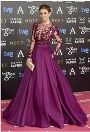 Wholesale Summer Style Red Carpet Celebrity Gown Long Purple Prom Dress Long Sleeves Vestido Formal Evening Gowns High Neck A Line vestidos para festa