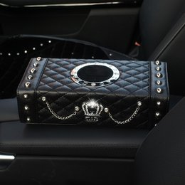 Pujing Automobile Within Decorate Articles Rhinestone Diamond An Crown Vehicle Form Napkin Set Seat Type Real Factory PU Tissue Box