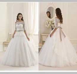Modest Free Shipping A Line Bateau Floor Length Ivory Tulle Half Lace Sleeve Wedding Dress Lace Up Removed Beaded Sashes Bridal Gowns