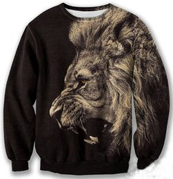2014 new fashion men women's 3D sweatshirts print animal lion cool pullover hoodies autumn winter sweatshirt