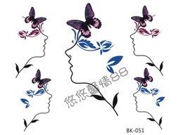 Wholesale Waterproof butterfly abstract beautiful woman the cartoon tattoo stickers male Women