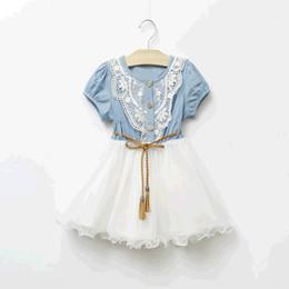 2017 Summer Girls Denim Dress Baby Tutu Dress Kids Princess Dresses Lace And Gauze Hem With Belt Children Clothing Casual Dresses 5pcs lot