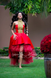 Fashion Red Hi Lo Prom Dresses 2018 A Line Custom made Yellow beaded Lace A Line latest African Formal Evening Party Pageant Gonws