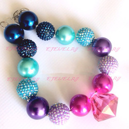 blue purple&hot pink pearl beads rhinestone beads hot pink waterdrop pendant chunky Bubblegum girl statement necklace CB616
