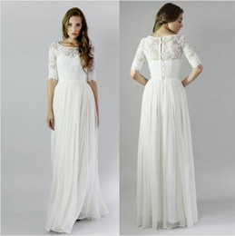 Romantic Beach Appliques Bohemian Wedding Dresses Half Sleeves Wedding Gown Floor Length Tulle Bridal Bown With Button
