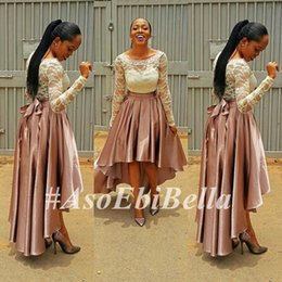 Wholesale Aso Ebi Style Attractive Evening Dresses Hi Lo A Line Long Sleeve Lace Scoop Collar Zipper Back Cheap Prom Gowns Banquet Dress