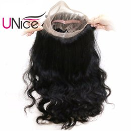 UNice Hair Body Wave Brazilian 360 Lace Frontal Free Part 10-20inch Unprocessed Human Hair 360 Full Lace Body Wave Closure