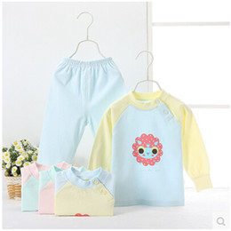 2pcs set New 2015100% cotton baby newborn clothes sets long sleeve infant underwear set suit baby girl boy cute cartoon clothes