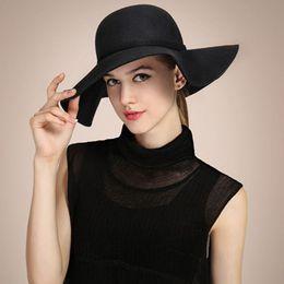 Wholesale-2015 New Womens Hat Wide Brim Soft Wool Felt Bowler Fedora Hat Floppy Cloche Cap Beach Casual Sun Hat Autumn Winter Cap 8 Colors