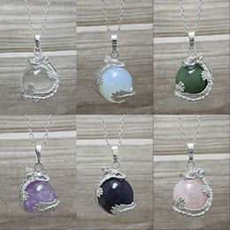 10pcs Silver Plated Dragon with Healing Stone Crystal Quartz Amethyst Rose Quartz Ball Charms Pendant Necklace Silver Chain Gemstone Jewelry