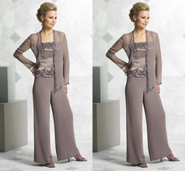 Fashion Mother's Suit mother of the bride pant suits chiffon Dresses with jacket Mother of the Bride Dresses pant suits