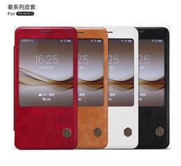 Original Nillkin Ultra Thin Qin PU Leather Flip phone Case cover Skin inside card slot for huawei mate 8 4 colors